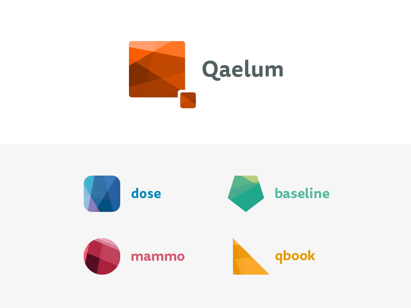 Qaelum - Medical logos hospital healthcare colors shapes polygons logos collection product logo medical qaelum