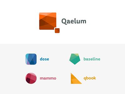 Qaelum - Medical logos hospital healthcare colors shapes polygons logos collection product logo medical qaelum