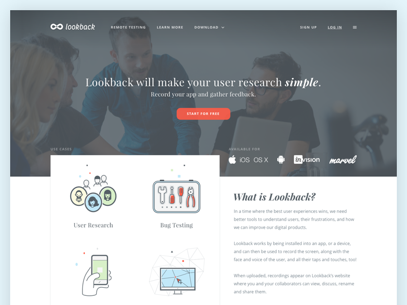 Lookback - Landing page startup research user testing usability ux lookback illustrations website page landing