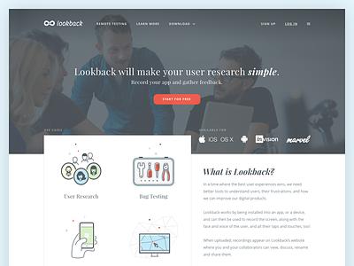 Lookback - Landing page startup research user testing usability ux lookback illustrations website page landing