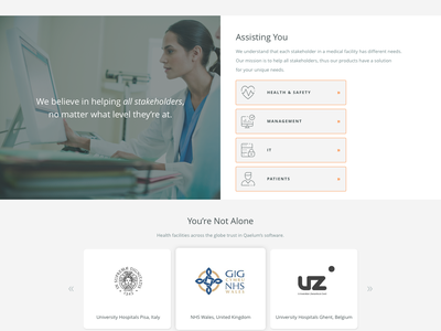 Qaelum - Home identity home online hospital care health polygon logos website page landing medical