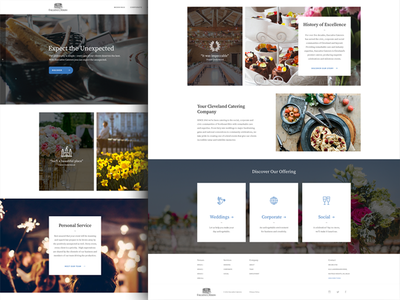 Homepage concept - Luxury catering luxury photography social page landing corporate wedding event venue homepage catering