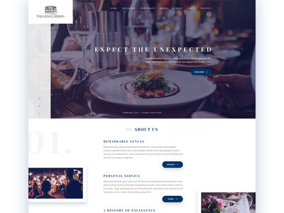 Homepage concept - Luxury catering catering homepage venue event wedding corporate landing page social photography luxury