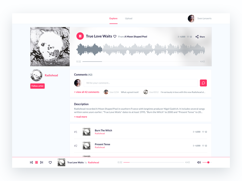 Music community - Track page band music interface design soundcloud radiohead album track song spotify ux digital