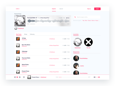 Music community - Homepage community digital ux spotify song track album radiohead soundcloud interface music band