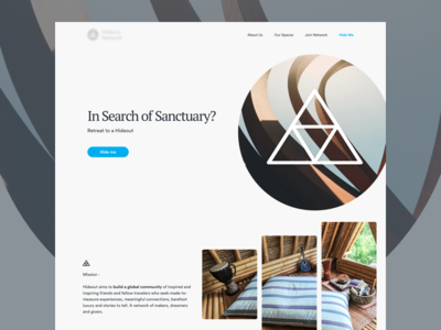 Hide Me – Landing Page Concept holiday landing homepage sanctuary vacation rental airbnb nomad digital hideout
