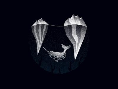 The Stippled Narwhal black and white poster art animals flat vector art halftone stippling illustration design