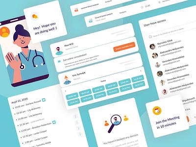 Ademrius – Medical Platform scheduling booking telemedicine healthcare medical blue ui elements illustration web app design ux ui