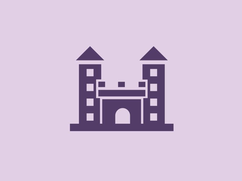 Castel startup logomark morden violet castle simple symbol brand logotype design mark identity minimal icon branding vector logo
