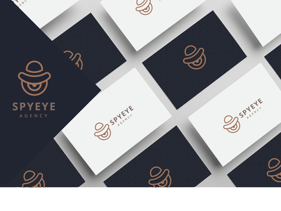 SpyEye businesscard print clean lineart line hat eye spy brand simple flat symbol logotype mark icon identity minimal logo branding design
