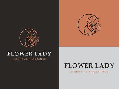 Flower Lady print face graphic flower lady girl lineart clean typography simple logotype symbol mark identity minimal branding logo design