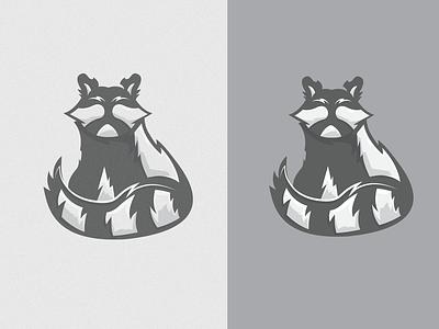 RACCON shapes overprint retro character design blackandwhite racoon illustrations print brand vector icon mark identity branding logo design
