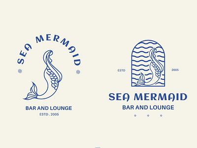 SEA MERMAID unique shop business company vector brand refresh lineart lounge bar blue mermaid sea brand symbol design logo minimal mark identity branding