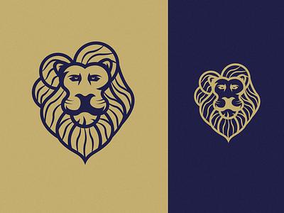 LION abstract minimal graphic negative outline king retro animal royal blue vintage brand identity linework lion symbol vector icon mark identity branding logo