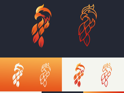 BIRD FLAME light brand design line art gradient logo elegant profile graphic outline character avatar animal fire flame bird symbol minimal mark identity branding