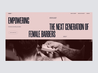 Site for training female barbers composition grid colorful website ux ui typography design