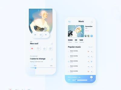 music app of soft UI style interface 播放器 music softui