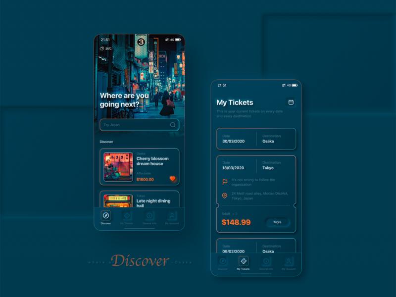 travel interface app softui travel