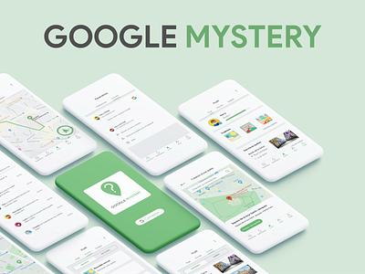 Introduce Google Mystery uiux green logo green mobile app product design google design google maps map clay mockup mobile app design mobile ui mobile