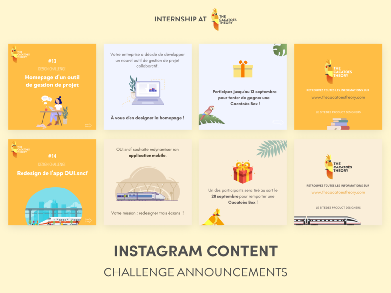 The Cacatoès Theory - Instagram : Design Challenge graphic design design challenge news slack linkedin instagram cacatoes slider