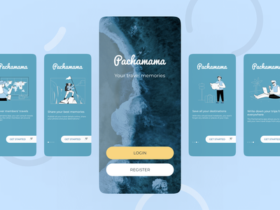 Pachamama app : onboarding app design traveling travel app ui blue design travel app mobile design mobileappdesign product designer userinterface mobileapp adobe xd