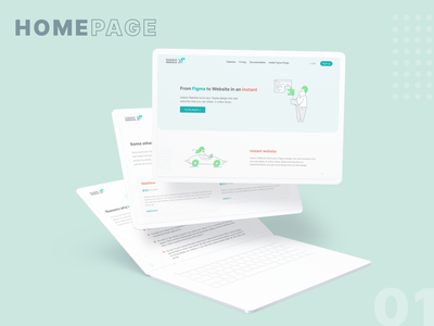 Instant Website - Landing page product design mockup hero home page landing page service open source webdesign blue illustration figma plugin