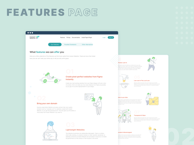 Instant Website - Features pages service website blue product design uidesign service figma plugin ux ui illustrations features page webdesign