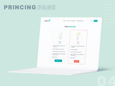 Instant Website - Pricing page open source product design ux ui ux web design plug in services blue mockup clay figma service pricing plans pricing page pricing