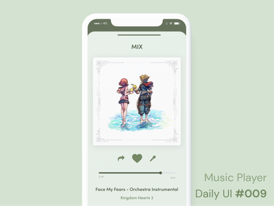 Daily UI 009 - Music Player ux player music sign in interfaces phone app mobile phone mockup kingdom hearts challenge daily ui 009 ui design daily ui music player product design figma