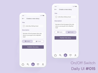 Daily UI 015 - On/Off Switch interaces mobile ui mockup figma product design ux publish create story story mobile app button on off on off switch daily ui 015 daily ui ui challenge 015 sign in 3d