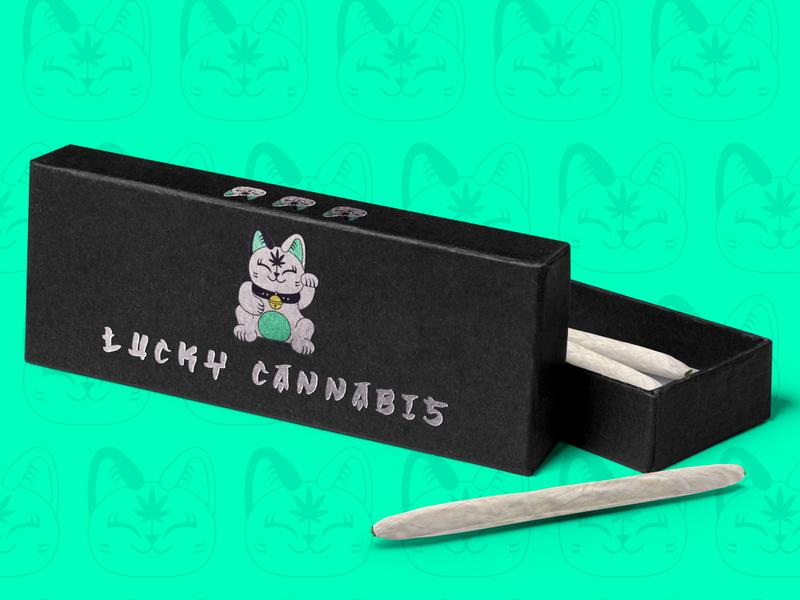 Lucky Cannabis cute design logo graphic design japan cat lucky lucky cat cannabis branding branding cannabis design cannabis weed packaging packaging design