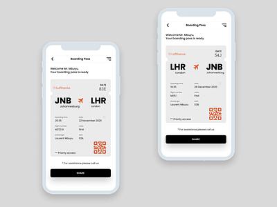 Daily UI :: 024 - Boarding Pass app design ux minimal ui mobile ui mobile app design mobile app app alignment design boarding boarding pass