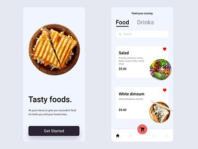 Daily UI :: 043 - Food/Drink Menu mobile app design drink menu drinks food and drink food app food application flat minimal ui alignment design