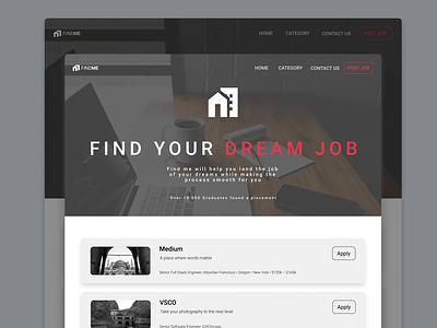 Daily UI :: 050 - Job Listing typography website minimal ui alignment design job application job list job portal job search job board jobs job listing job