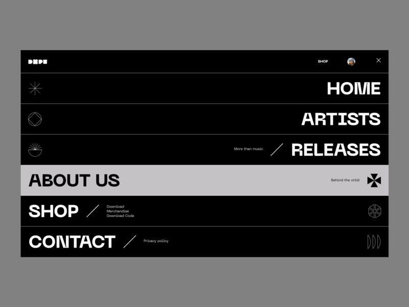 Dope. Menu Screen. dope minimal interaction menu ux ui concept website web