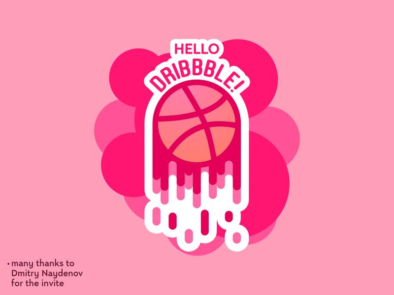 Hello Dribbble logo type typography debut minimal branding art vector illustrator illustration design