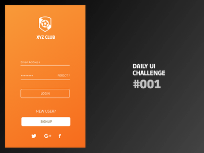 Dailyui 001 - Login Form forms login signup appscreens mobileapp challenge 100days dailyui