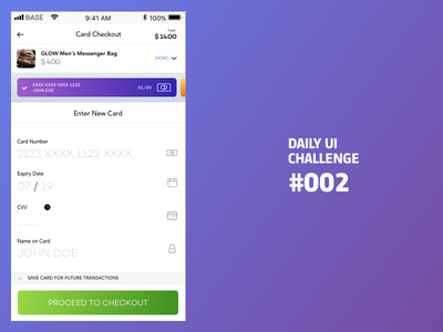DailyUI 002 Card Checkout iphone dailyui002 forms login signup appscreens mobileapp challenge 100days dailyui sketch