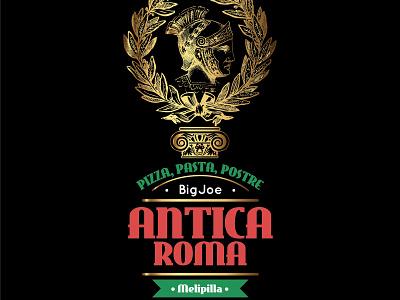 Creación de Marca, Antica Roma, Pizzeria, Melipilla Chile. typography illustrator type minimal lettering identity icon illustration flat vector branding logo design