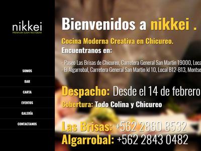 Página web para nikkei Restaurant, Chicureo, Chile.