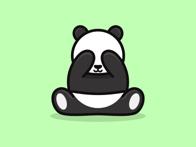 peekaboo cute animal panda inspiration feminine mascots cartoon playful logo design youthful illustration character