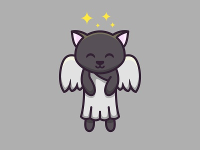 rest in happiness, buddy happy black angle cat cute colorful mascots cartoon playful logo design youthful illustration character