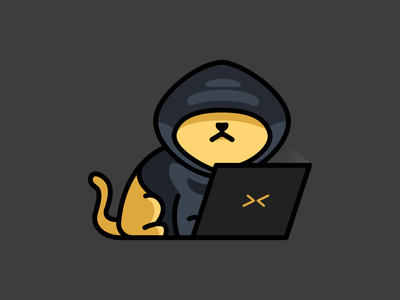 annonymeow cute laptop hacker cat inspiration feminine colorful mascots cartoon playful logo design youthful illustration character