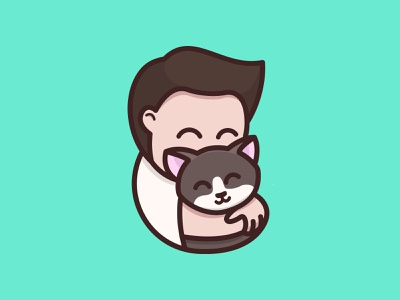 Me After You person cat love cute hug cartoon playful logo design youthful illustration character