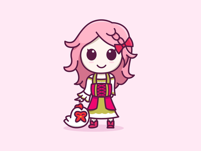 Popuri From Story of Seasons Friend of Mineral Town chicken game pink story of seasons popuri cute feminine colorful mascots cartoon playful logo design youthful illustration character