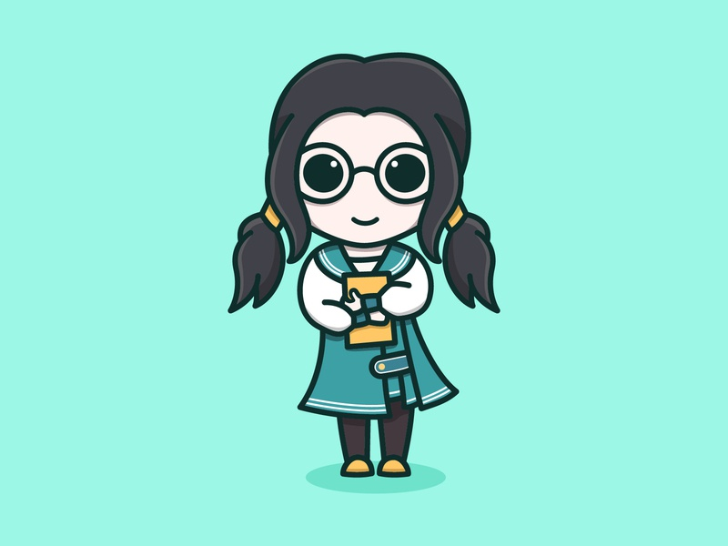 Marie From Story of Seasons Friends of Mineral Town bookworm girl person chibi harvest moon story of seasons marie feminine logo inspiration colorful mascots cartoon playful logo design youthful illustration character