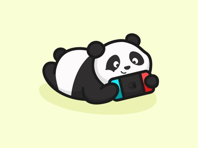 Prone and Play cute animal minimal nitendo switch game playing panda colorful mascots cartoon playful logo design youthful illustration character