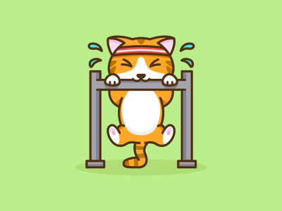 Don't Forget to Workout work in progress yellow sweat gym workout cat animal inspiration feminine cute colorful mascots youthful illustration character