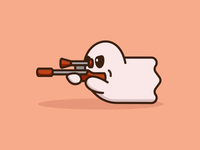 Ghost Shooter mascots scary cute minimal ghost sniper cartoon playful logo design youthful illustration character