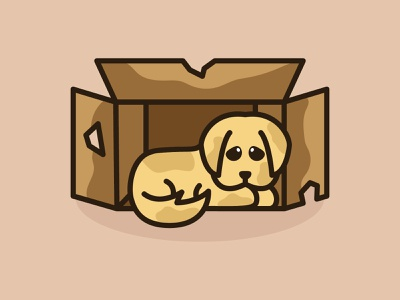 Sadness Puppy baby dump sadness sad box puppy dog puppy colorful cute mascots playful logo design youthful illustration character cartoon